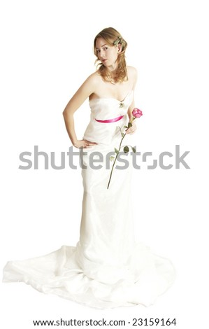 bride with a rose - stock photo