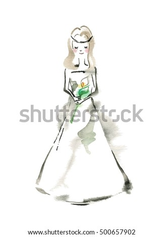 Bride with a white flower
