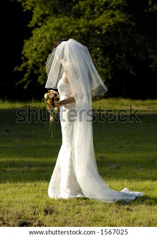 bride with bouquet - stock photo