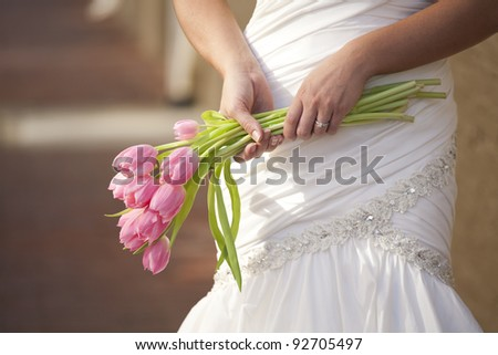 Bride with Her Bouquet - stock photo