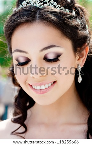Bride with long hair - stock photo
