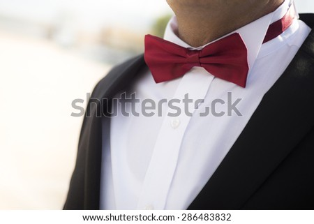 Bridegrooms red bow tie on a suit.