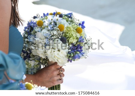 Bridesmaid flowers on white - stock photo