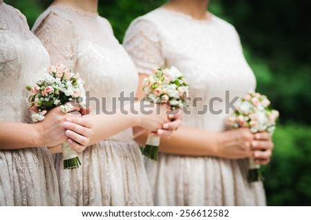 Bridesmaids on wedding party of their best friend - stock photo