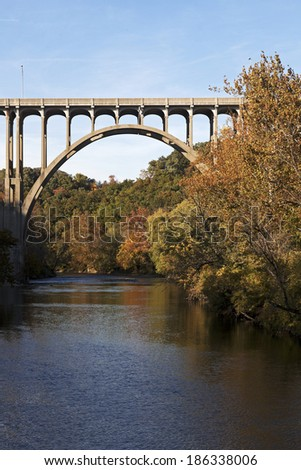 Bridge above Cuyahoga River in Cuyahoga Valley National Park. - stock photo