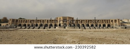 Bridge across the Zayandeh-Rood River in Isfahan - stock photo
