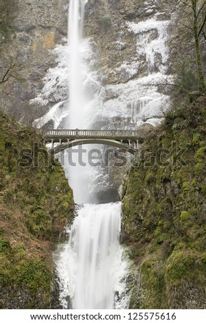 Bridge Along Hiking Trails at Multnomah Falls in Columbia River Gorge Oregon in Winter - stock photo