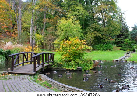 Bridge and lake at autumn park in Canada - stock photo