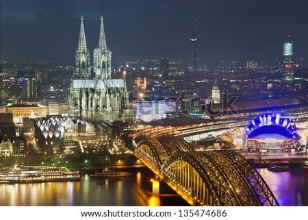 Bridge and old cathedral of Koln, Germany