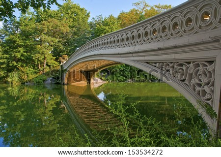Bridge and Pond, Central Park, New York City - stock photo
