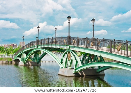 Bridge and river in Tsaritsino Park, Moscow, Russia, East Europe - stock photo