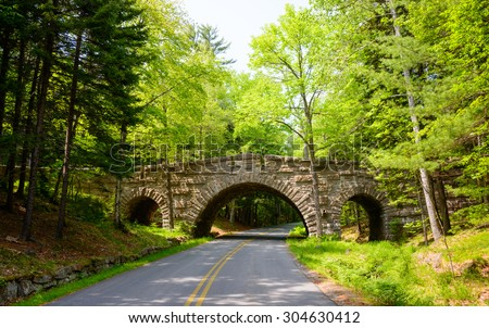 Bridge and Road, Acadia National Park - stock photo