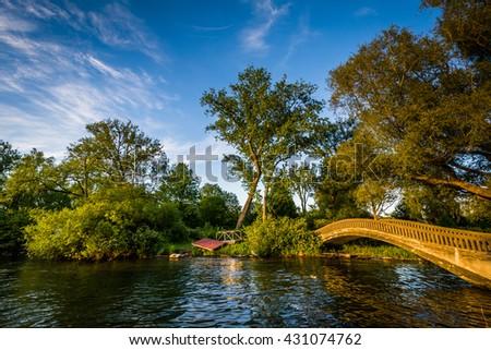 Bridge at Centre Island, in Toronto, Ontario. - stock photo