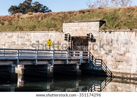 Bridge at Fort Monroe former military installation, Hampton, Virginia. - stock photo