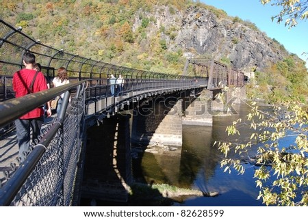 Bridge at Harpers Ferry in West Virginia, USA - stock photo