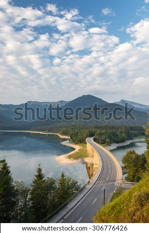 Bridge at Lake Sylvenstein, Bavaria, Germany