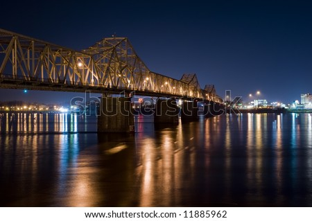 Bridge at Night Louisville Kentucky - stock photo