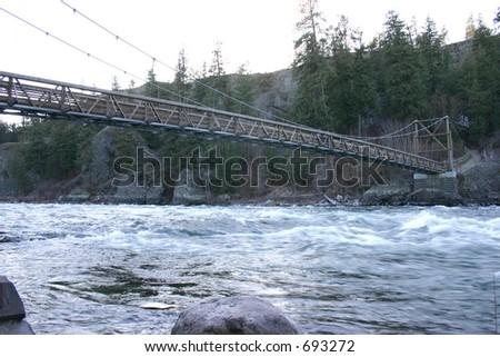 Bridge at riverside state park - stock photo