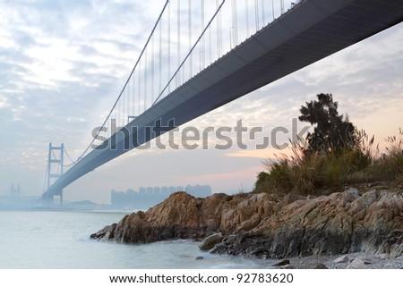 bridge at sunset moment, Tsing ma bridge - stock photo