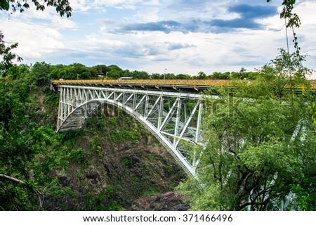 Bridge at the Victoria Falls, Zambezi River, Zimbabwe and Zambia - stock photo