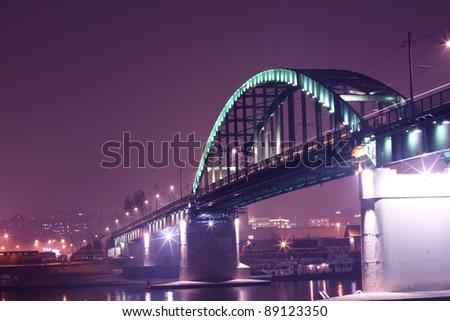 Bridge-Belgrade By Night - stock photo