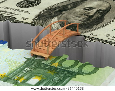 bridge between euro and dollar. 3d