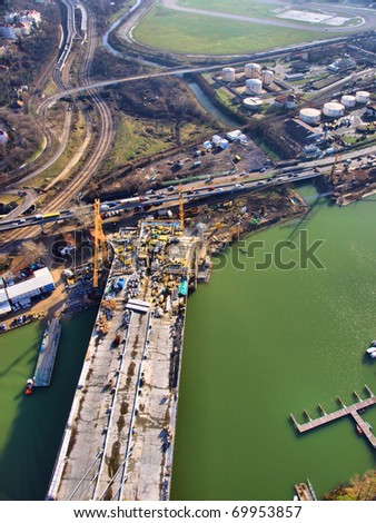 Bridge construction / Aerial view on construction of Sava bridge / Belgrade, Serbia - stock photo