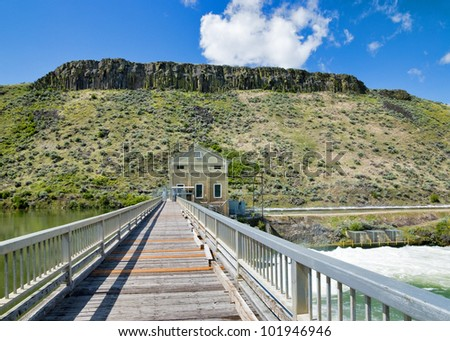 Bridge crossing the Boise River at the Diversion Dam near Boise Idaho - stock photo