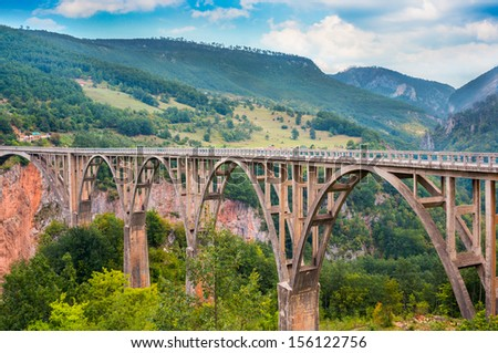 Bridge Durdevica and view Tara river gorge - the biggest one canyon in Europe in the national park Durmitor, Montenegro, Balkans - stock photo