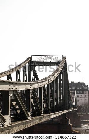 bridge eiserner Steg in Frankfurt, Germany. - stock photo