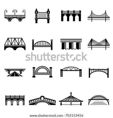 Bridge icons set. Simple illustration of 16 bridge icons set  icons for web