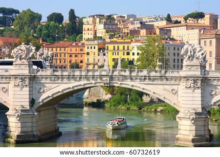 Bridge Il Tevere a Ponte Vittorio Emanuele II in Rome, Italy - stock photo