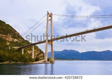 Bridge in fjord Lysefjord - Norway - nature and travel background - stock photo