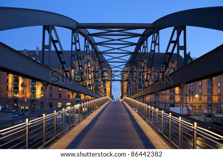 Bridge in Hamburg, germany - stock photo