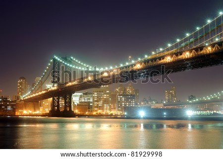 bridge in New York at night