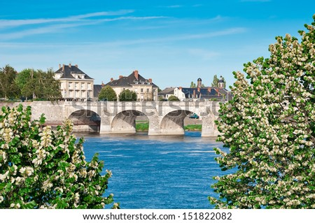 Bridge in Saumur, Pays-de-la-Loire, France - stock photo