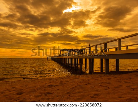 Bridge in the evening near the sea beautiful. - stock photo