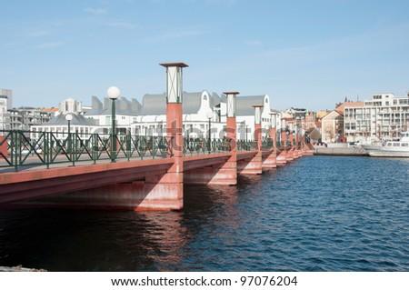 bridge in the port of Helsingborg - stock photo