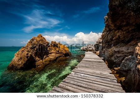 bridge in the sea - stock photo