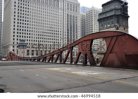 Bridge in Urban City Chicago Illinois USA - stock photo