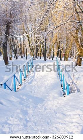 Bridge in Winter Park in the morning - stock photo