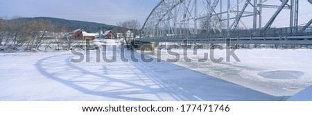 Bridge into New Hampshire from Vermont - stock photo