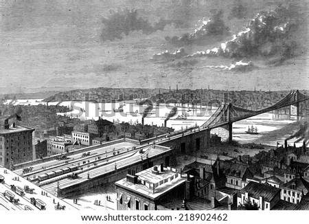 Bridge New York, on the East River. View of the East river, vintage engraved illustration. Journal des Voyage, Travel Journal, (1879-80). - stock photo