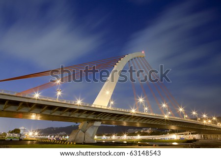bridge night scene  with sky  in taiwan - stock photo