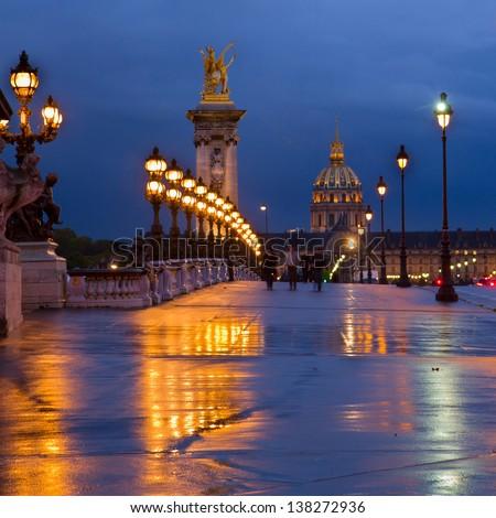 Bridge of Alexandre III  at night,  Paris, France - stock photo