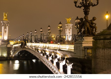Bridge of Alexandre III at night, Paris, France - stock photo