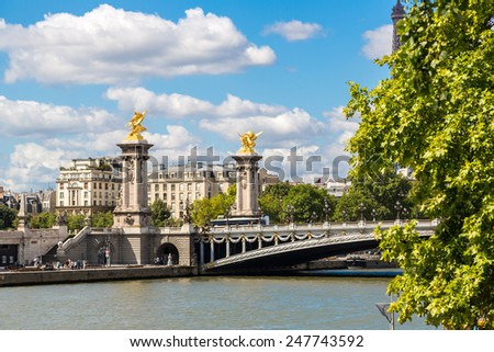 Bridge of Alexandre III in Paris in a beautiful summer day