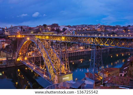 bridge of Dom Luis I  (constructed in 1886, world heritage) in old Porto, Portugal - stock photo