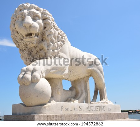 Bridge of Lions Monument at historic St. Augustine, Florida. - stock photo