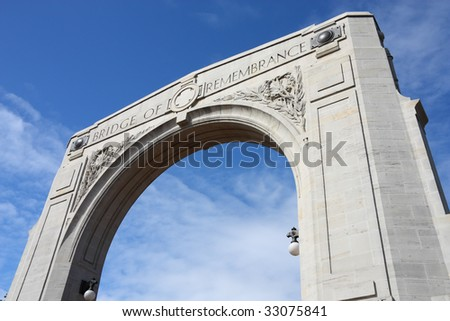 Bridge of Remembrance - War Memorial in Christchurch, New Zealand - stock photo